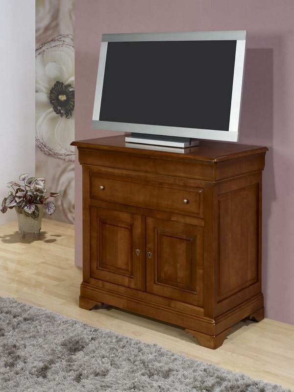 Meuble tv 2 portes en merisier massif de style louis for Meuble tv en merisier