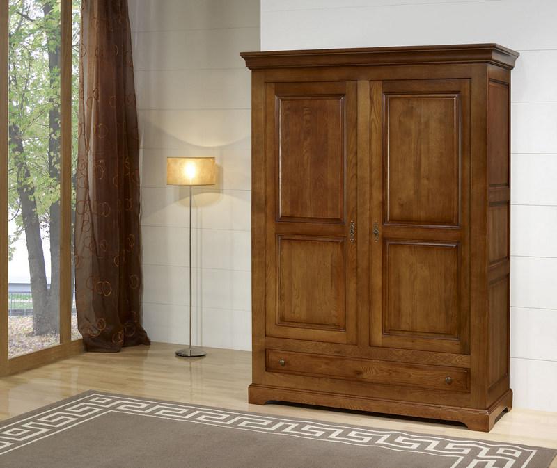 Armoire 2 portes en ch ne massif de style louis philippe campagnard meuble - Armoire chene massif 2 portes ...
