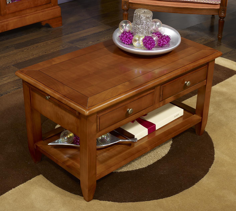 Table basse sandra en merisier de style campagnard - Table basse de style ...