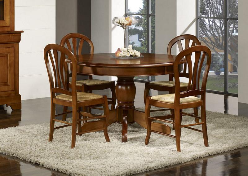 Table ronde pieds central sandra en merisier massif de style louis philippe meuble en merisier - Table ronde bois massif pied central ...