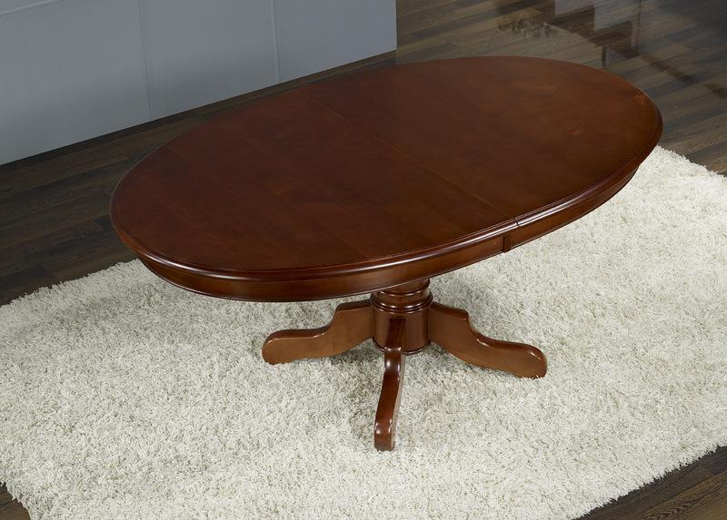 Table ovale pieds central en merisier massif 160 120 avec for Table bois massif ovale