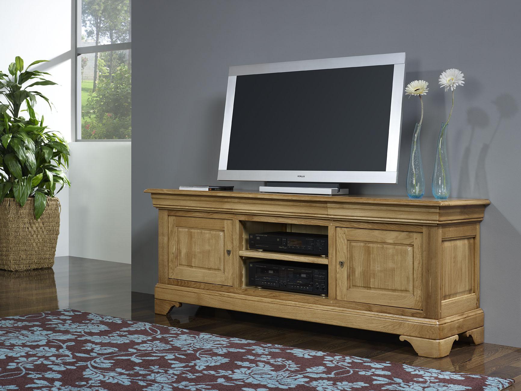 Meubles tv 16 9eme julien en ch ne massif de style louis philippe meuble en ch ne massif - Meuble tv style louis philippe ...