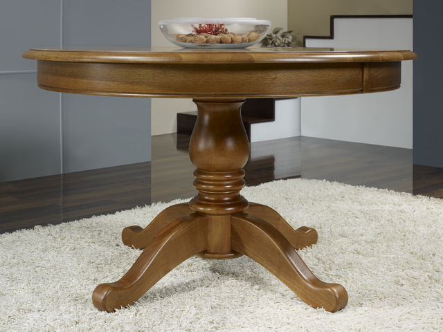 Table ronde pieds central en ch ne de style louis philippe diametre 120 5 allonges de 40 cm - Table ronde rallonge pied central ...