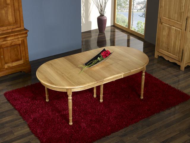 Table ovale 170x110 claire en ch ne massif de style louis for Table ovale chene massif