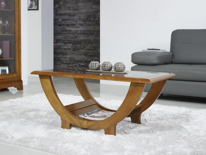 Table basse en merisier massif de style contemporain - Meuble orme massif contemporain ...