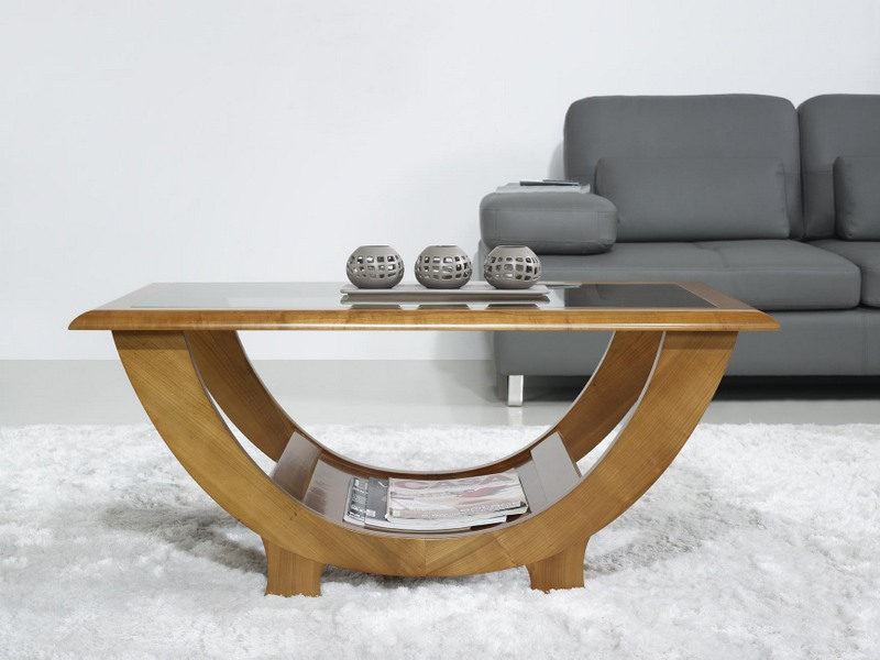 Table basse en merisier massif de style contemporain meuble en merisier massif for Table basse moderne bois