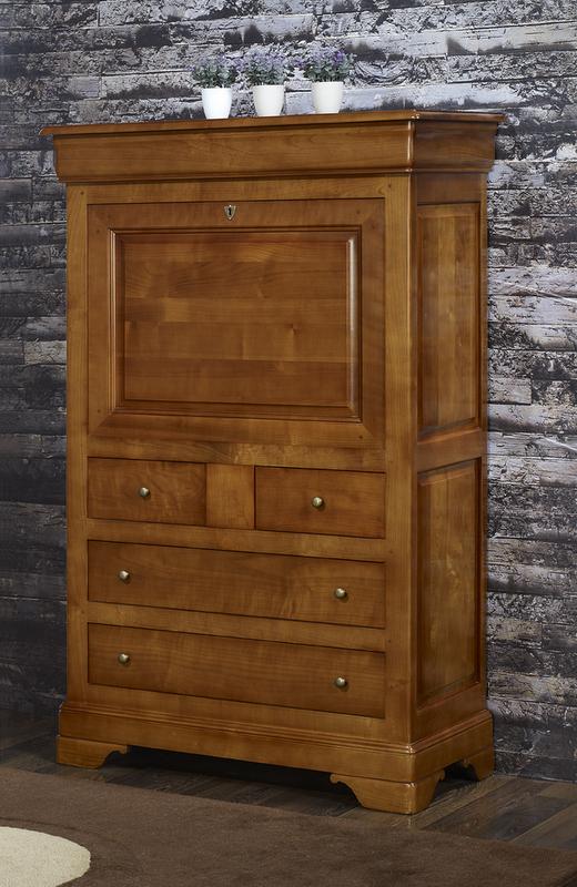 Secrétaire Bois Massif - Secrétaire en Merisier Massif de style Louis Philippe , meuble en Merisier massif