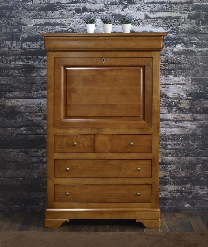 Secrétaire en Merisier Massif de style Louis Philippe , meuble en Merisier massif # Secrétaire Bois Massif
