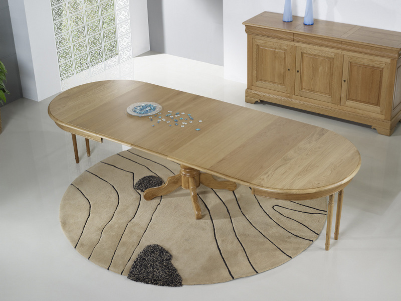 Table ronde pied central marc en ch ne massif de style - Table ronde avec allonges ...