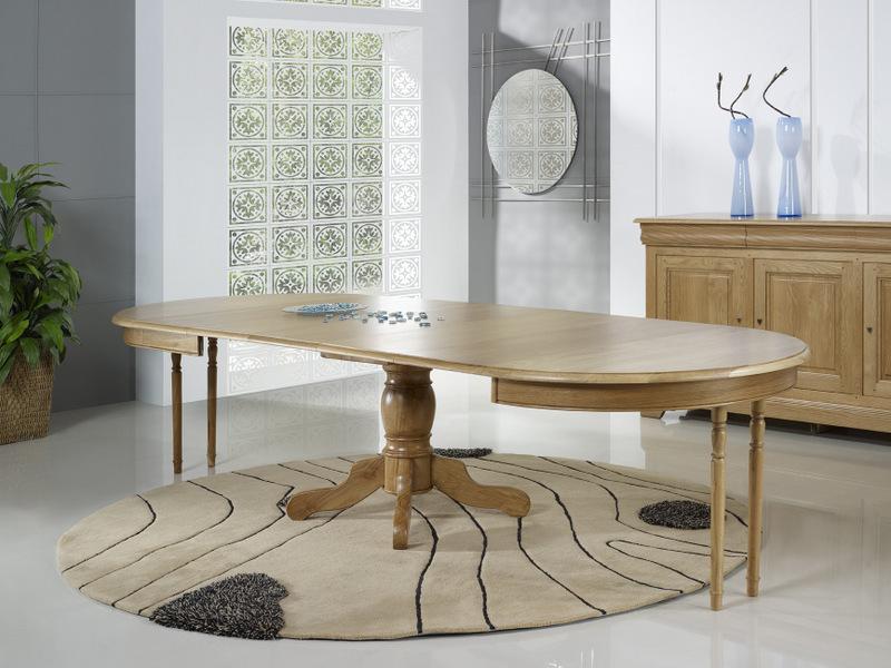 ebf6340aad8883 Table ronde pied central Marc- en Chêne Massif de style Louis Philippe  DIAMETRE 120 4 allonges de 40 cm FINITION CHENE BROSSE NATUREL , meuble en  Chêne ...