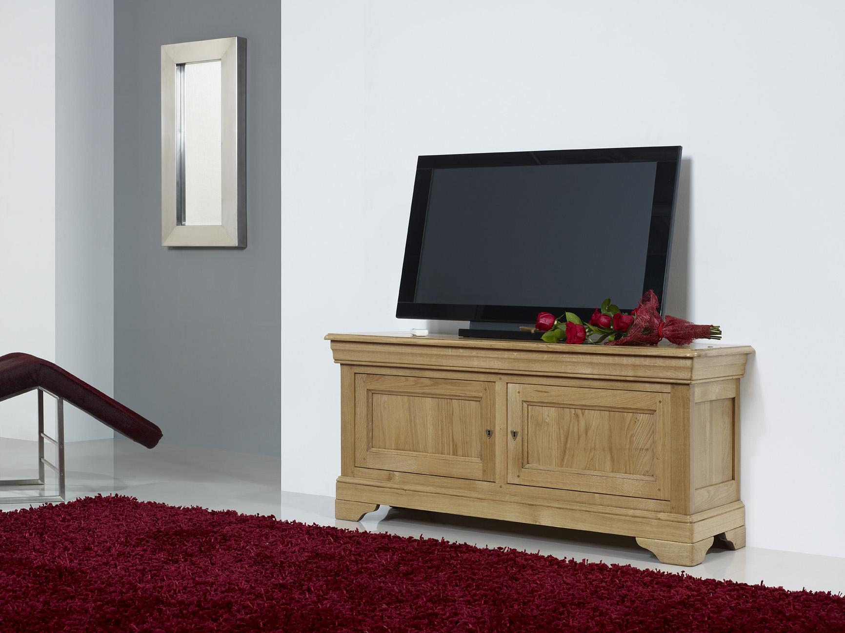 Meuble tv 16 9 me herv en ch ne massif de style louis philippe meuble en ch ne massif - Meuble tv style louis philippe ...