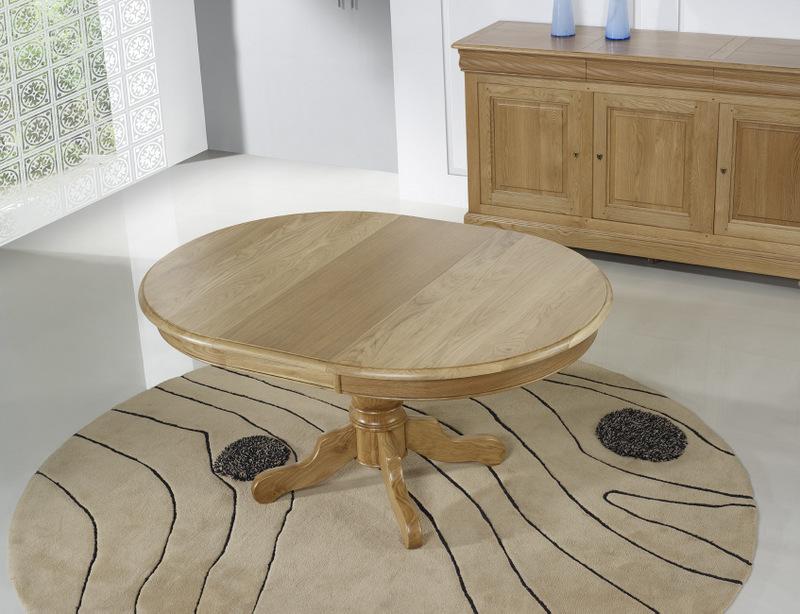 table ronde pied central en ch ne massif de style louis philippe diametre 120 2 allonges de 40. Black Bedroom Furniture Sets. Home Design Ideas