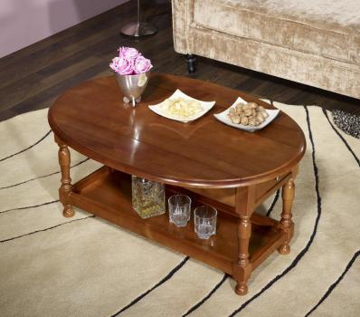 Table basse ovale volets zo en merisier massif de style - Table basse bois ovale ...