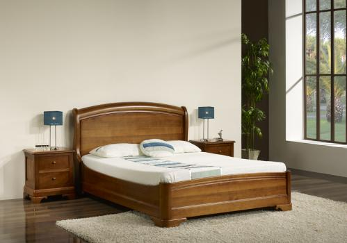Lit 140x190 en merisier massif de style louis philippe - Chambre a coucher moderne en bois massif ...