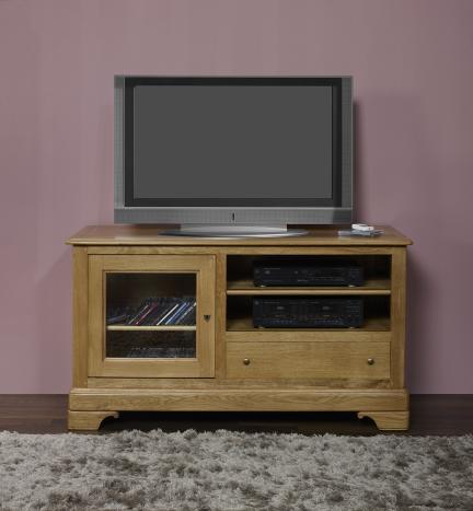 Meuble tv 16 9 me hugo en ch ne massif de style louis for Meuble antiquaire